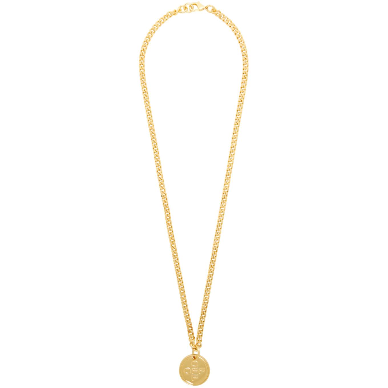 ゴールド ロゴ クロス ネックレス