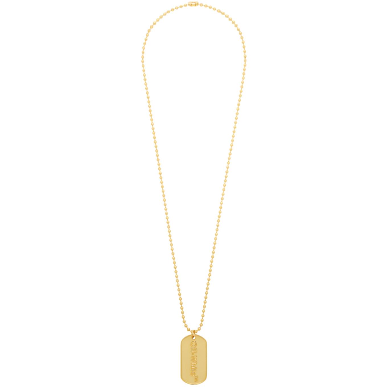 SSENSE 限定 ゴールド ロゴ ドッグ タグ ネックレス
