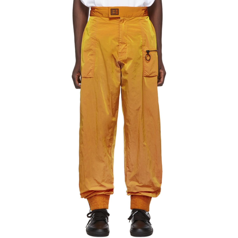 オレンジ ナイロン トラック パンツ