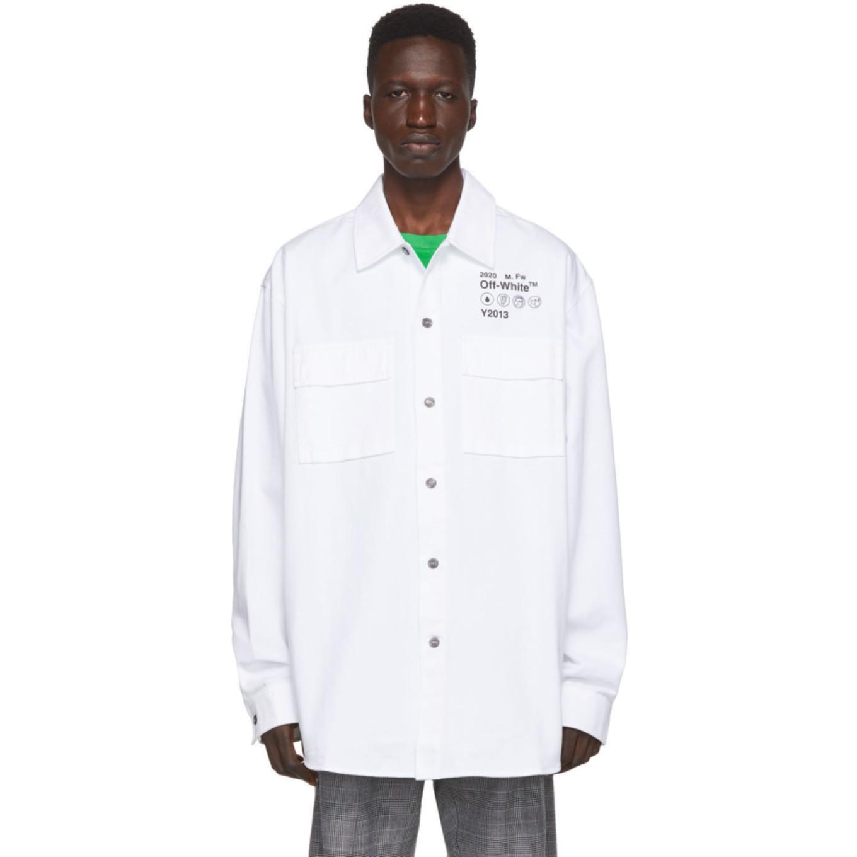 ホワイト ギャバジン シャツ