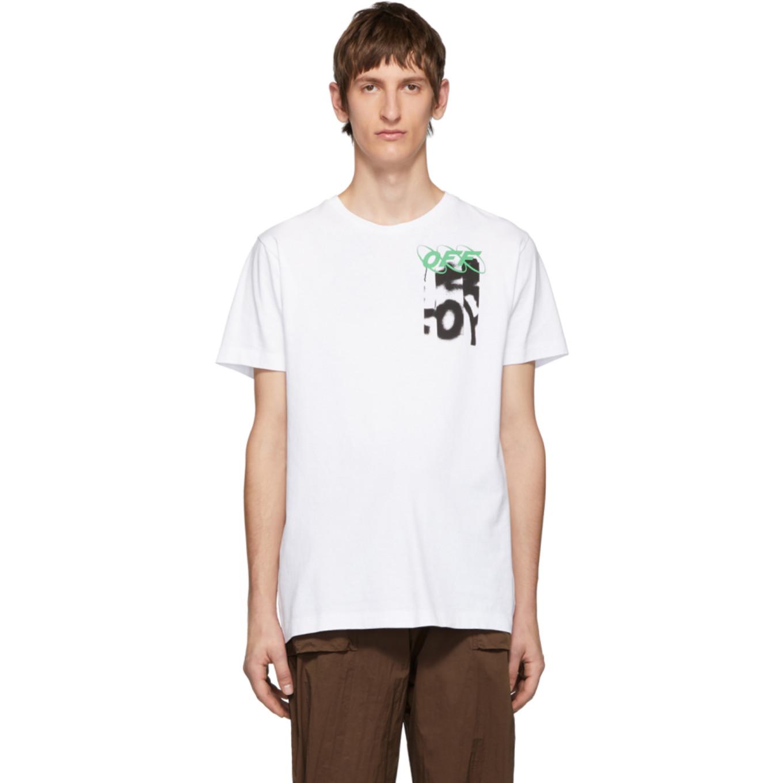 ホワイト スプレー Blurred ロゴ スリム T シャツ