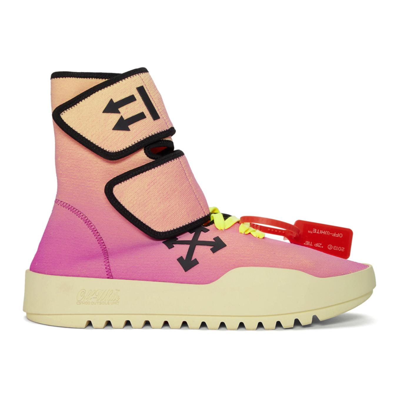 ピンク & イエロー モト ラップ スニーカー