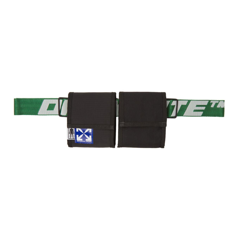 ブラック & グリーン 2 ポケット ファニー パック