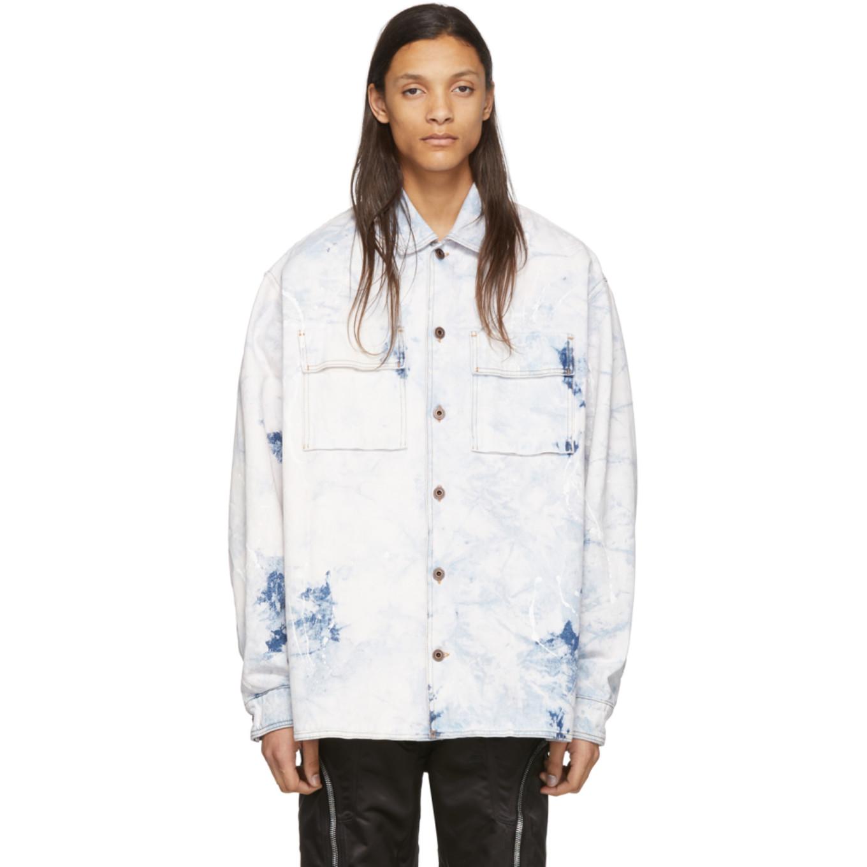 ホワイト & ブルー デニム オーバーサイズ アロー ジャケット