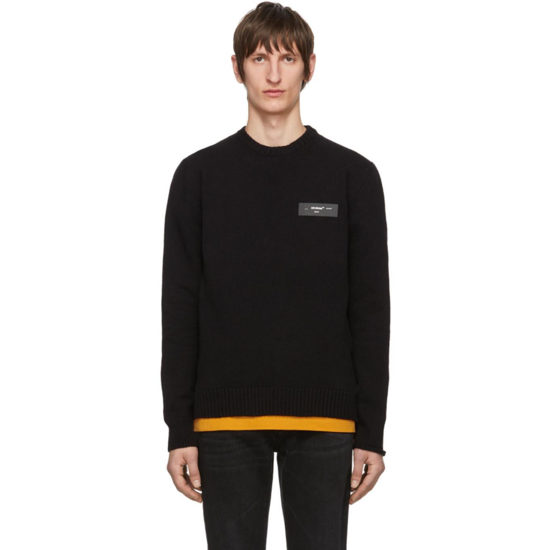 ブラック ニット ロゴ セーター