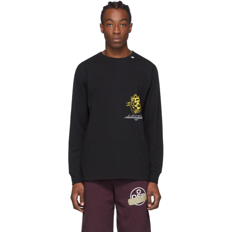 ブラック ロング スリーブ マルチ シンボル T シャツ