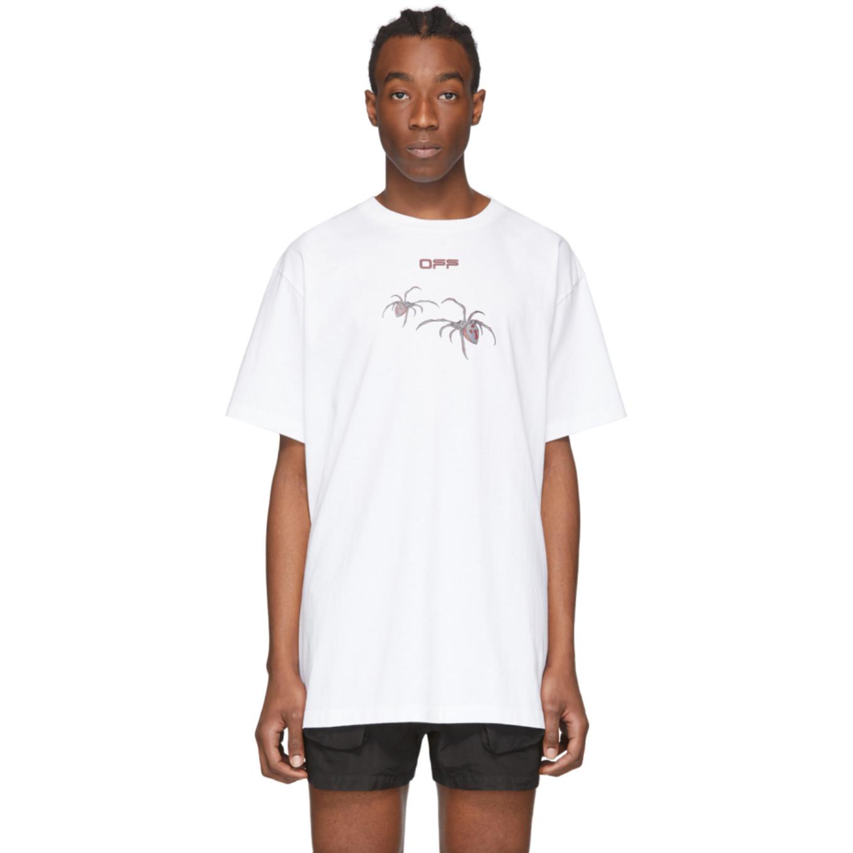 ホワイト & レッド Arachno アロー オーバー T シャツ