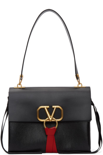 Valentino - Black Valentino Garavani Medium VRing Shoulder Bag