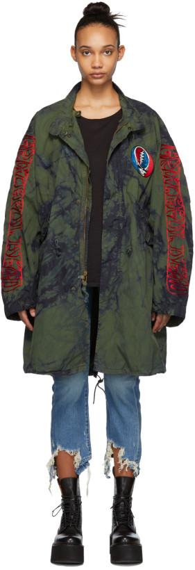 R13 Khaki Tie-Dye Grateful Dead Coat