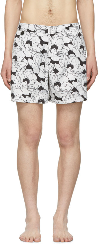 Double Rainbouu White & Black Nu Romance Pool Shark Swim Shorts