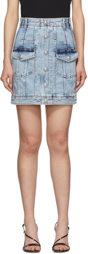 Balmain Blue Denim Acid Wash Miniskirt