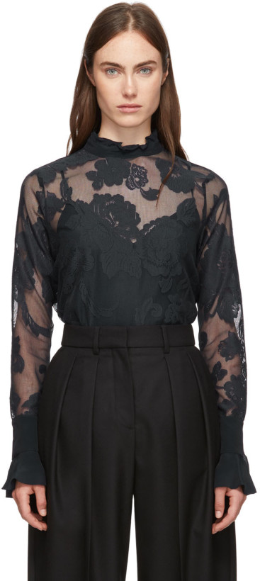 See by Chloé Navy Floral Mesh Blouse