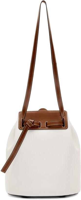 Loewe White & Brown Lazo Bucket Bag