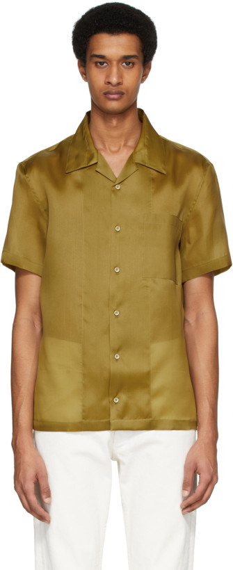 Tan Silk Casual Fit Shirt