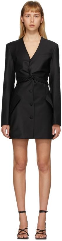 Matériel Tbilisi Black Front Tie Blazer Dress