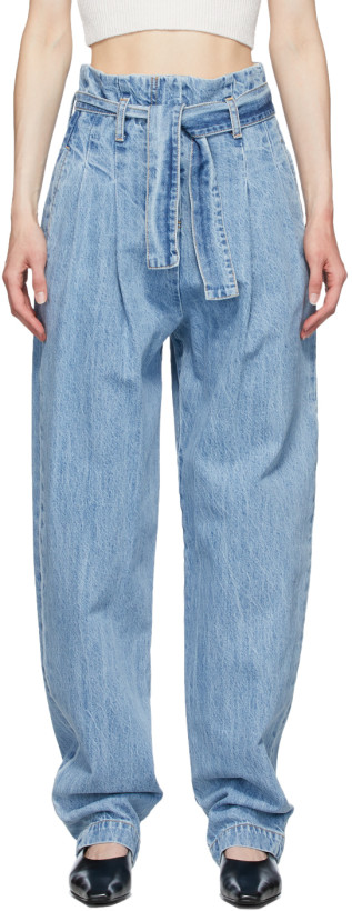 Wandering Blue Paperbag Belted Jeans