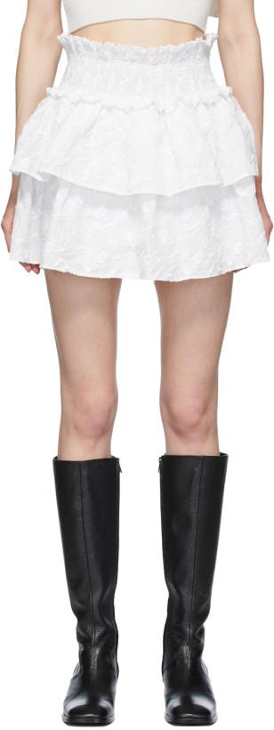Wandering White Embroidered Layered Skirt
