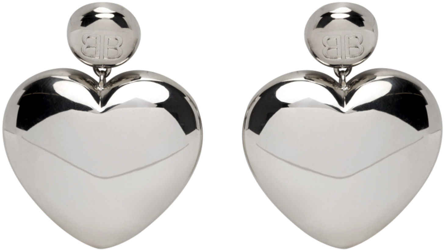 Balenciaga Silver Susi Heart Earrings