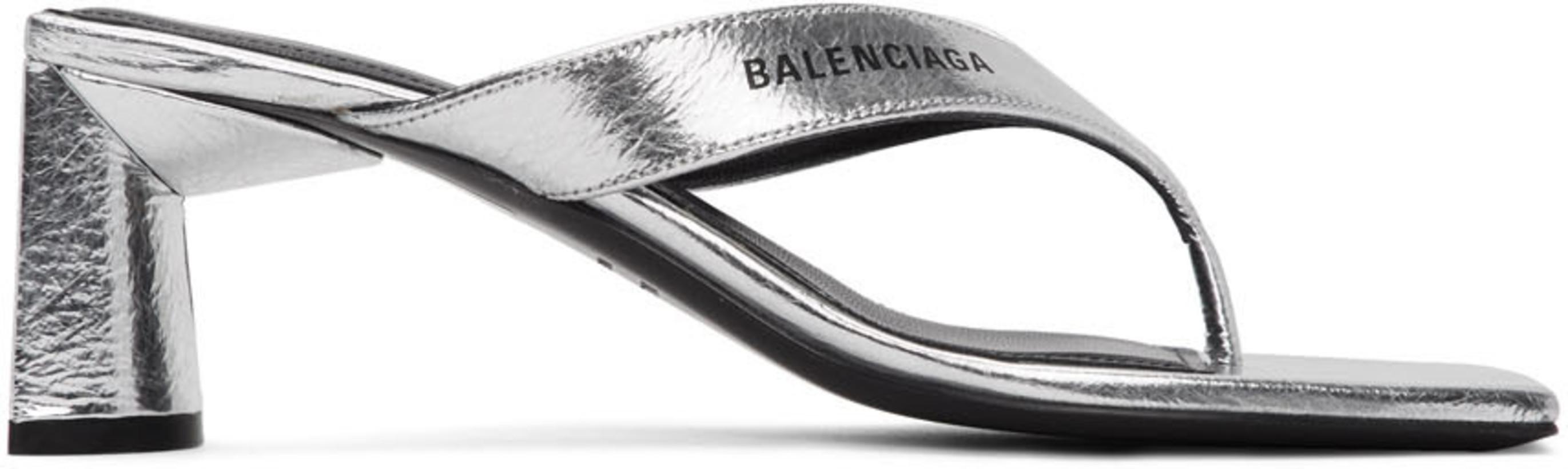 Balenciaga Silver Flip Flop Heels