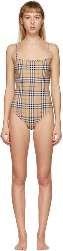 Burberry Beige Check Delia One-Piece Swimsuit