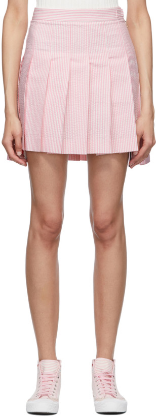 Thom Browne Pink & White Seersucker Pleated Miniskirt