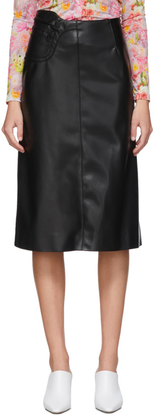 Commission Black Faux-Leather A-Line Skirt