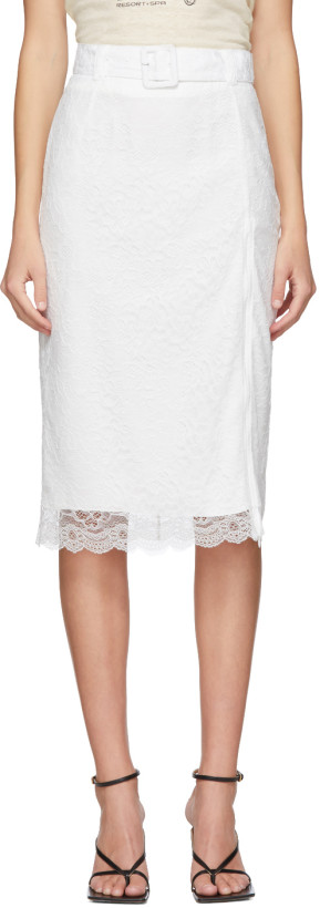 Commission White Lace Pencil Skirt