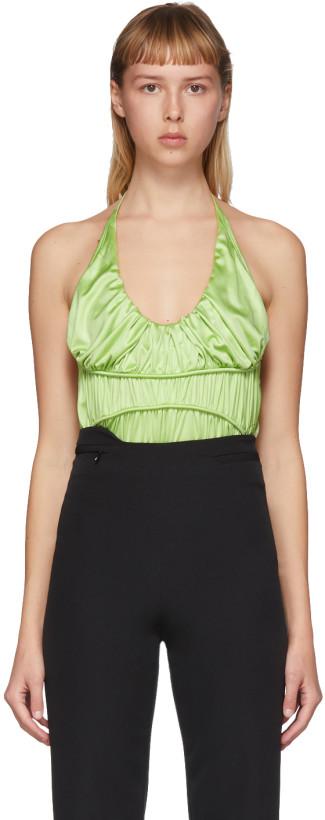 Commission Green Silk Gathered Bodysuit