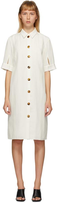 Partow White Silk Glen Shirt Dress