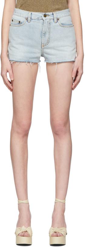 Saint Laurent Blue Denim Raw Edge Shorts