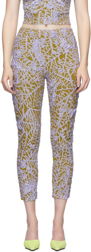 Gauntlett Cheng Yellow & Purple Leaf Skeleton Leggings