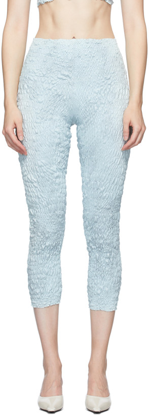 Gauntlett Cheng Blue Snakeskin Pedal Pusher Leggings