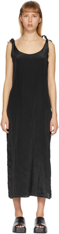 AMOMENTO Black Tied Slip Dress