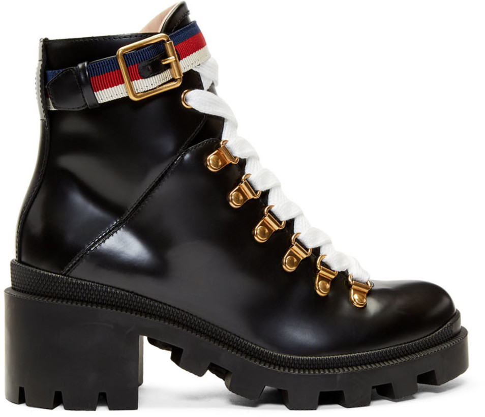 Gucci Black Leather Sylvie Boots