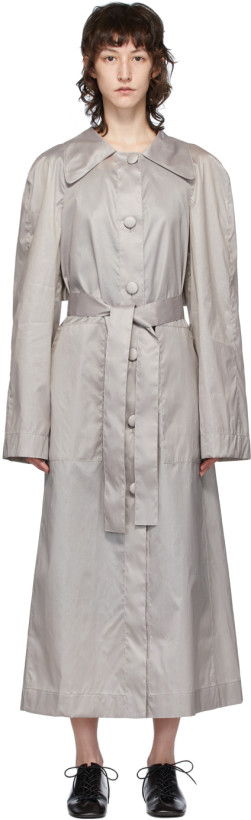 Lemaire Grey Silk Waxed Trench Coat