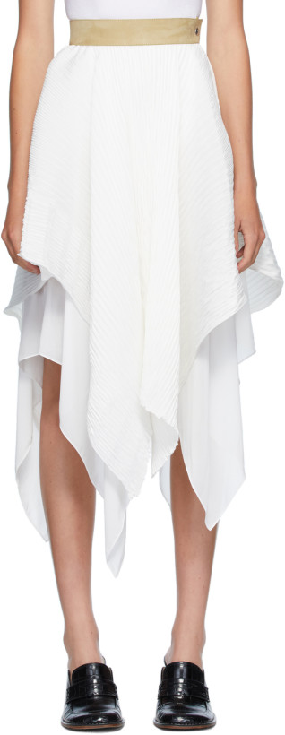 Loewe White Pleated Skirt