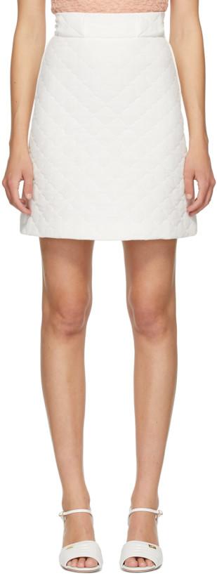 Fendi White Quilted Crêpe De Chine Skirt