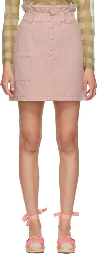 Fendi Pink Denim Button-Up Miniskirt