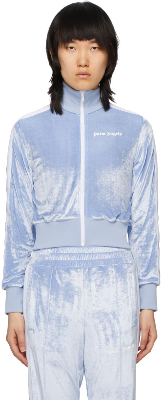 Palm Angels Blue Chenille Cropped Zip-Up Sweatshirt