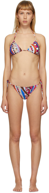 Emilio Pucci Pink & Orange Graphic Print Bikini