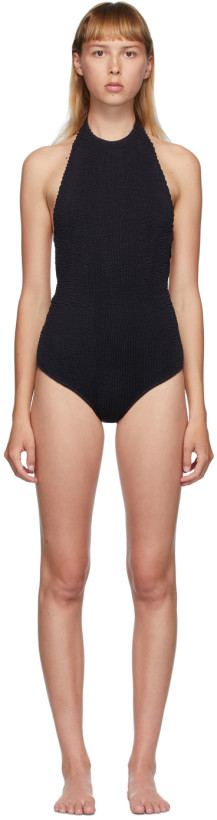 Bottega Veneta Black Quilted One-Piece Swimsuit