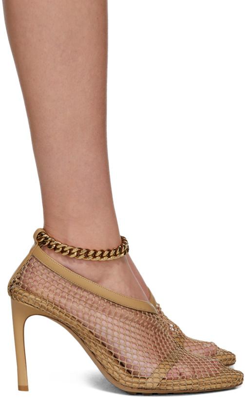 Bottega Veneta Beige Net Ankle Strap Heels