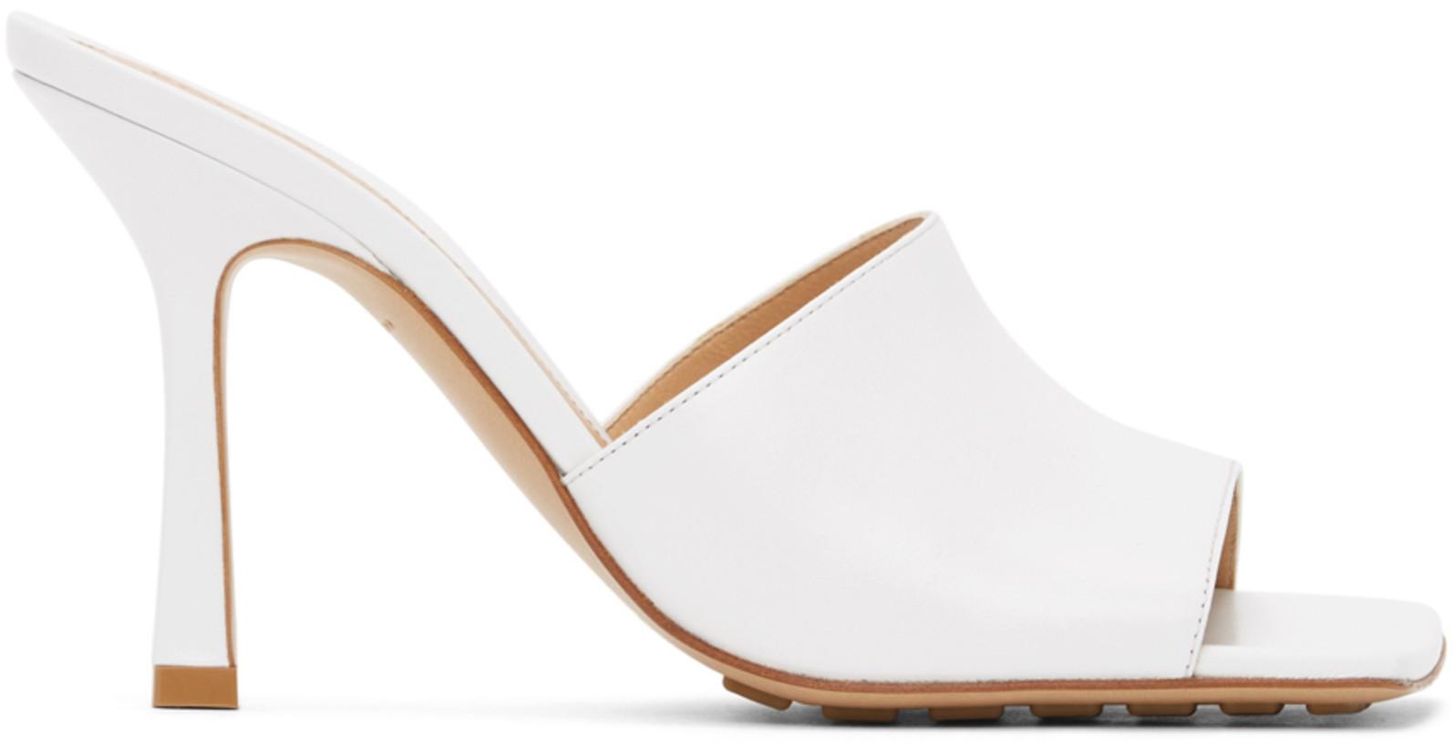 Bottega Veneta White Stretch Heeled Sandals