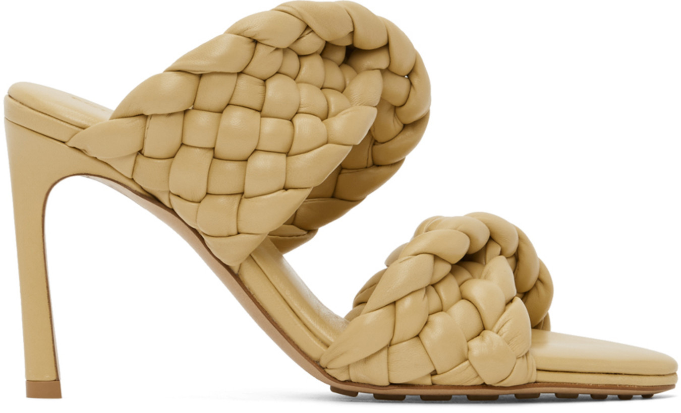Bottega Veneta Yellow Intrecciato Curve Heeled Sandals