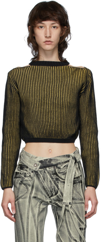 Eckhaus Latta Yellow & Black Clavicle Sweater