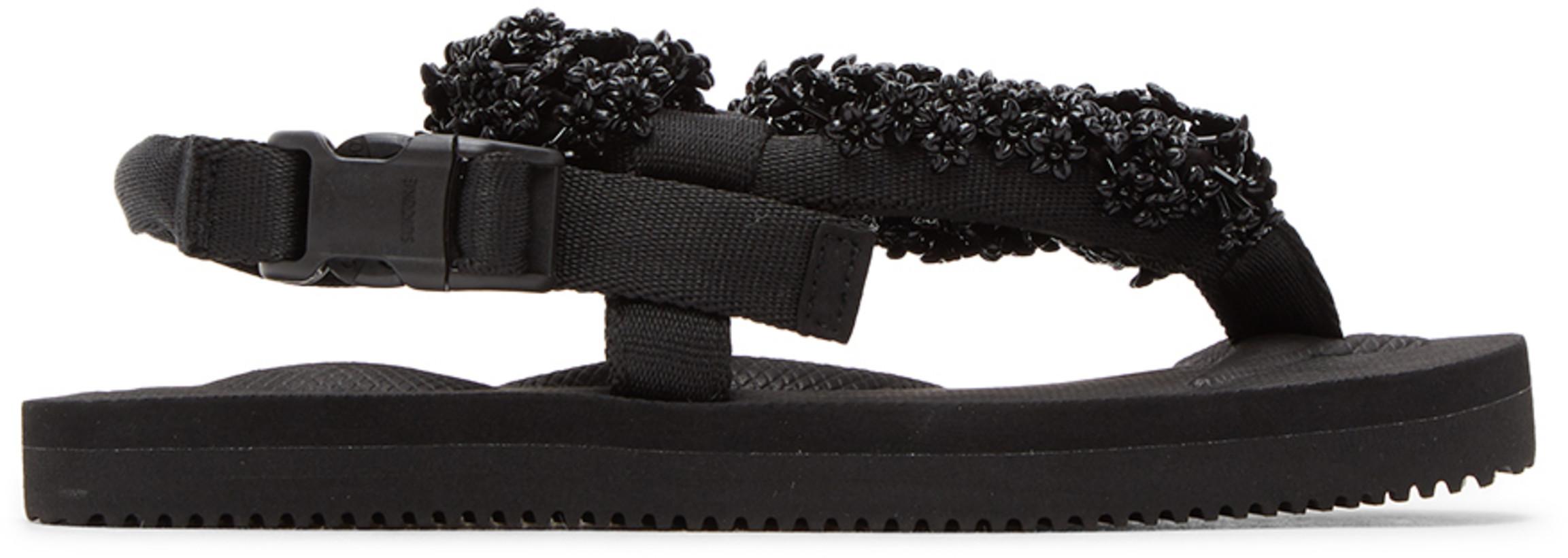 Cecilie Bahnsen Black Suicoke Edition Floral Sandals
