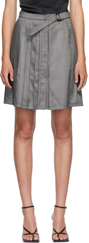 Situationist Grey Wool Belted Pleats Miniskirt