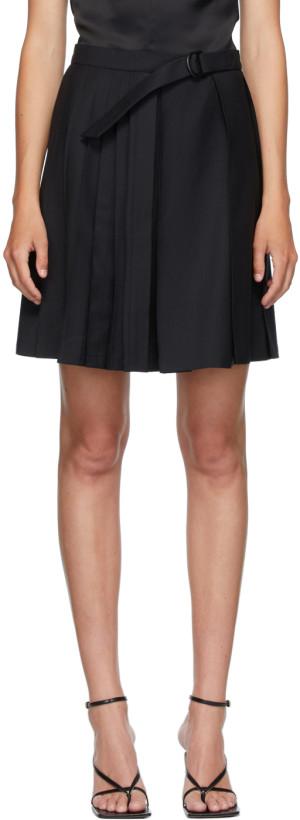 Situationist Black Wool Belted Pleats Miniskirt