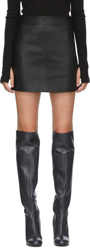 Helmut Lang Black Leather Miniskirt