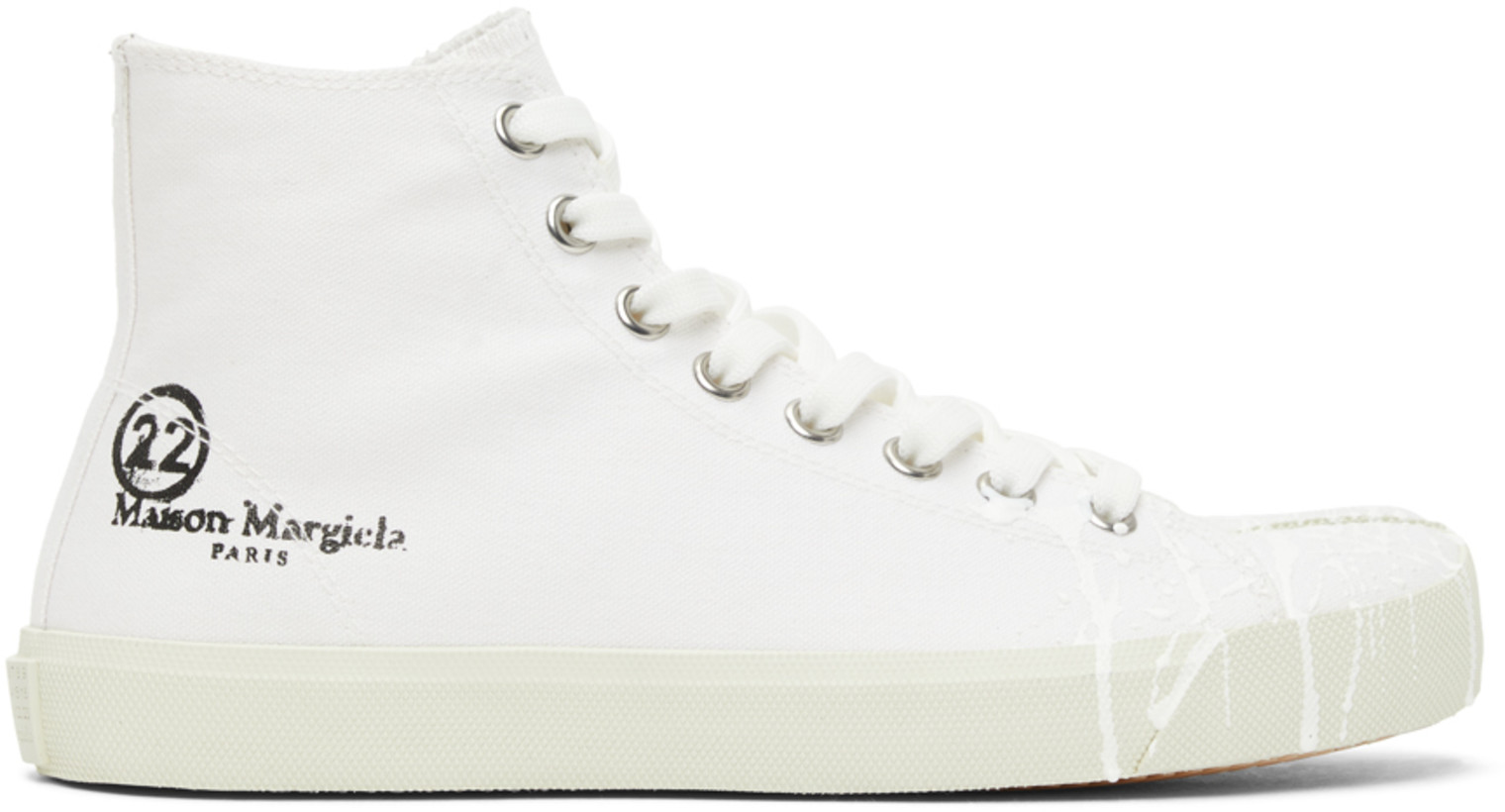 Maison Margiela White Canvas Pollock Tabi High-Top Sneakers